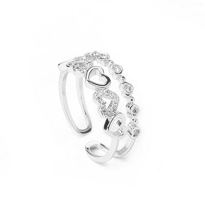 雙層愛心鑲鑽指環