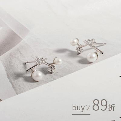 復古輕奢氣質小鑽珍珠 耳針耳環[純銀]