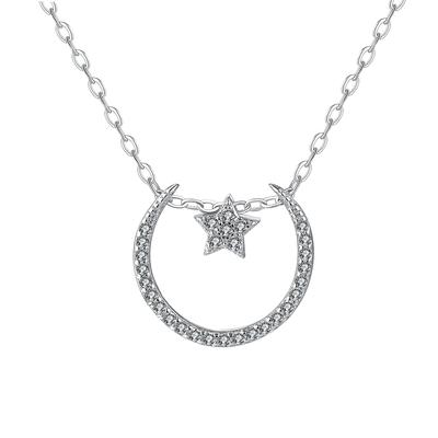 典雅氣質星月S925純銀鑲鑽項鍊