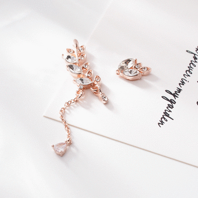 優雅水鑽月桂葉不對稱 耳針/無耳洞黏貼式耳環