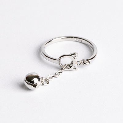 新簍空貓咪鈴鐺開口戒指