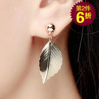 【第2件6折】清新唯美森林系小樹葉 無耳洞黏貼式耳環