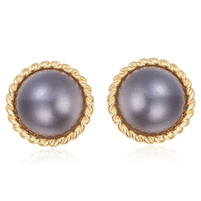 簡約復古灰色大珍珠 無耳洞黏貼式耳環