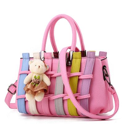 時尚甜美編織小熊手提包