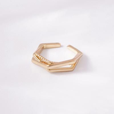 個性六角線條開口戒指