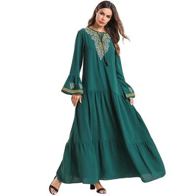 穆斯林森綠喇叭袖連身裙