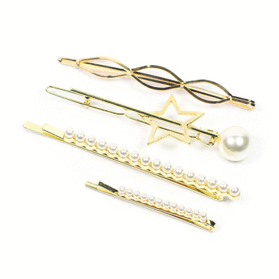 時尚幾何珍珠髮夾4件組