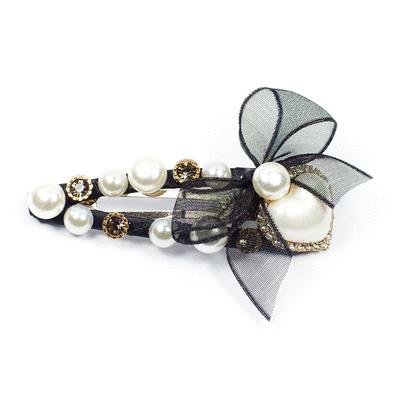 典雅氣質珍珠鍊條髮夾