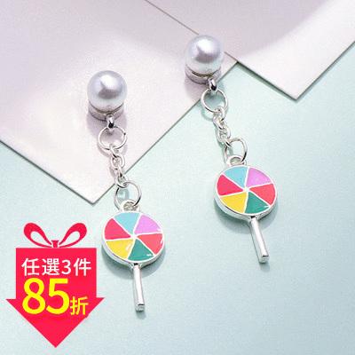 【專區3件★85折】絢爛七彩棒棒糖 耳針/黏式耳環