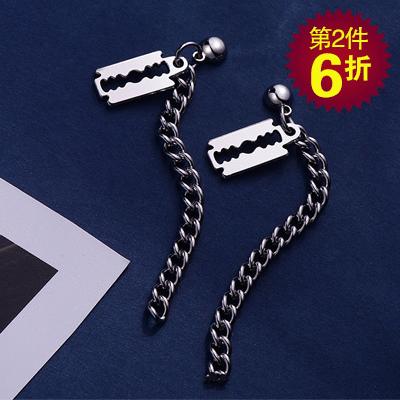 【第2件6折】韓版個性刀片小牌鏈條 耳針/無耳洞黏貼式耳環
