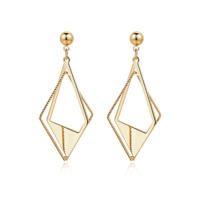 個性時尚幾何立體菱形 耳針/黏式耳環