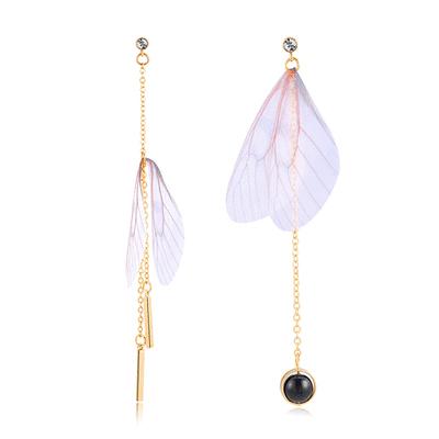 清新仿真蝴蝶翅膀不對稱 耳針/黏式耳環