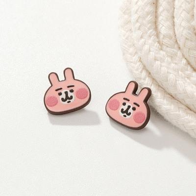 卡娜赫拉的小動物-粉紅兔兔 無耳洞黏貼式耳環