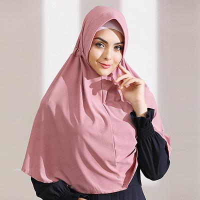 穆斯林純色抽繩套頭彈力頭巾