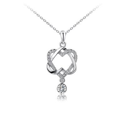 時尚韓版雙心纏繞微鑲鑽合金項鍊