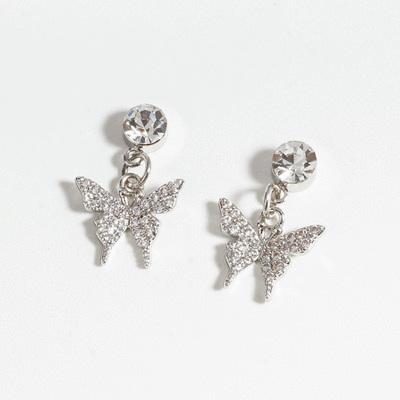 晶亮時尚鑲鑽蝴蝶 耳針/無耳洞黏貼式耳環