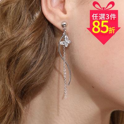【專區3件★85折】白金蝴蝶流蘇 耳針/黏式耳環