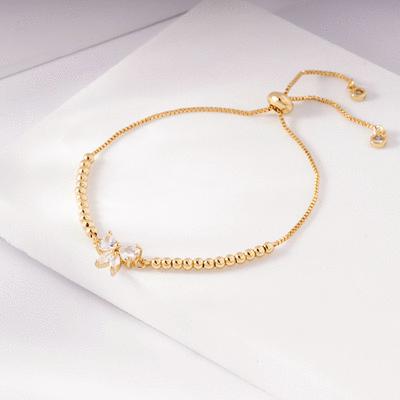 閃耀甜美蝴蝶結鑲鑽圓珠手鍊