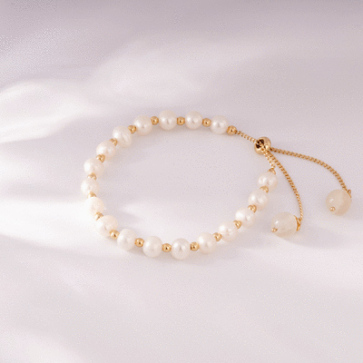 純潔淡雅天然珍珠水晶手鍊