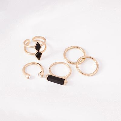 個性幾何5件組開口戒指
