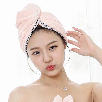 日式包邊珊瑚絨吸水乾髮帽