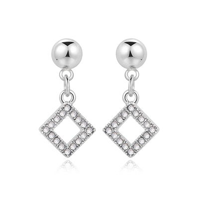 優雅簡約簍空鑲鑽菱形 黏式耳環