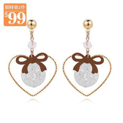 【第2件99元】簍空金心裂紋珠蝴蝶結 耳針/無耳洞黏貼式耳環