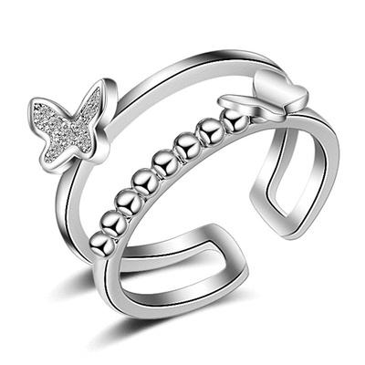 翩翩氣質雙層蝴蝶開口戒指