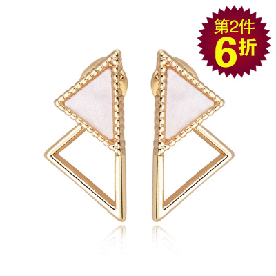 【第2件6折】簡約個性幾何三角形 無耳洞黏貼式耳環