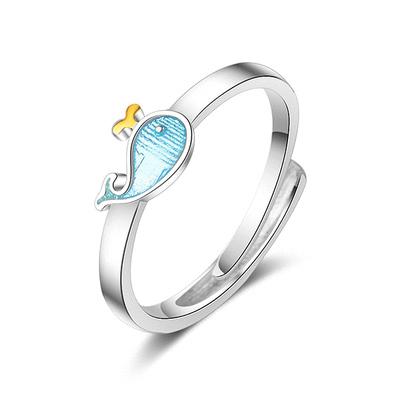 可愛萌趣小藍鯨指環