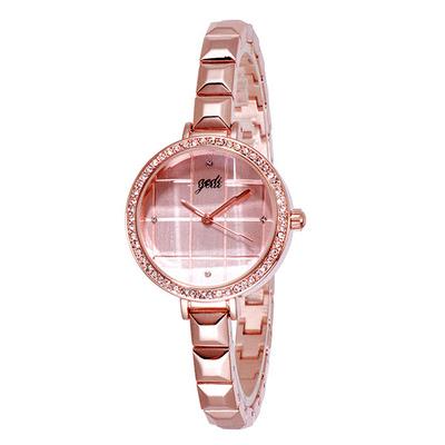 氣質立體玻璃切面格子手鏈錶