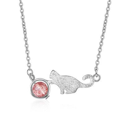 日系貓咪粉色晶石合金項鍊