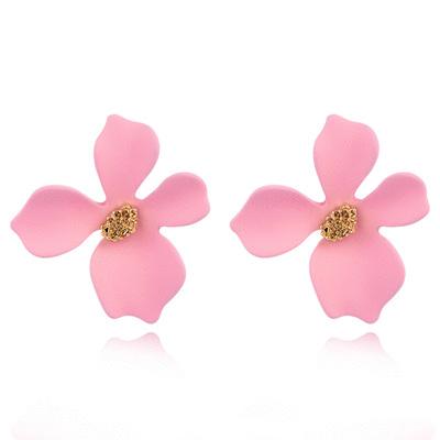 粉嫩少女心優雅花瓣 無耳洞黏貼式耳環