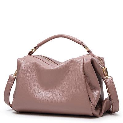 極簡純色軟皮手提包