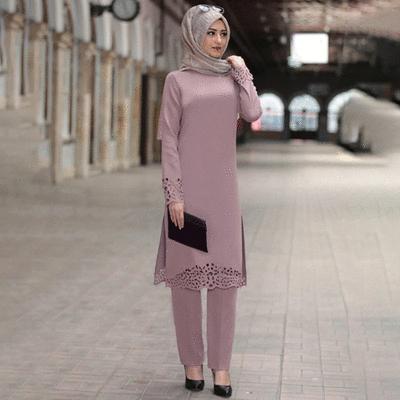 春夏新款穆斯林燒花兩件套長袍連衣裙