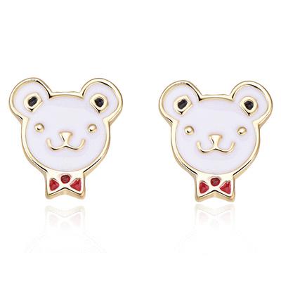 【限時199元】可愛領結小熊 耳針/無耳洞黏貼式耳環
