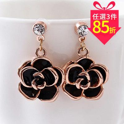 【專區3件★85折】典雅鍍金黑玫瑰 耳針/黏式耳環