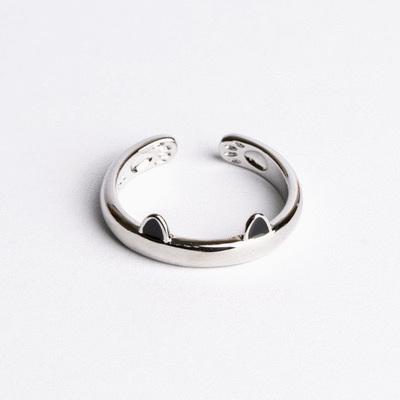 可愛創意貓耳腳印開口戒指