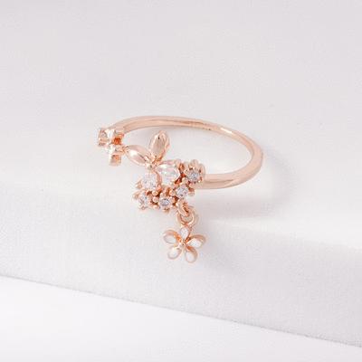 清新淡雅鑲鑽小花開口戒指