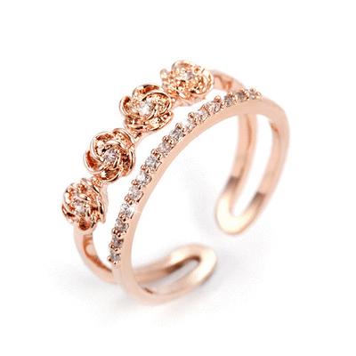雙層玫瑰花鑲鑽指環
