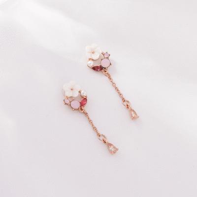 花朵粉鑽流蘇水滴無耳洞黏貼式耳環