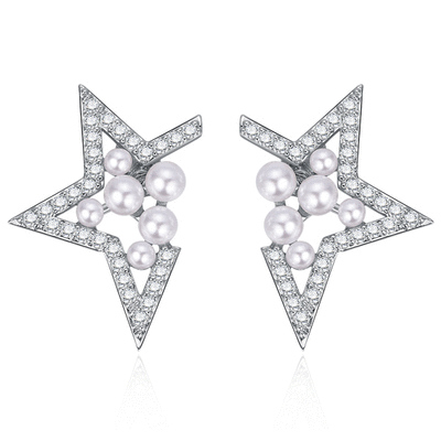 個性幾何簍空珍珠 耳針/無耳洞黏貼式耳環