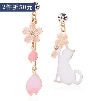 【2件折50元】不對稱櫻花貓咪 耳針/無耳洞黏貼式耳環