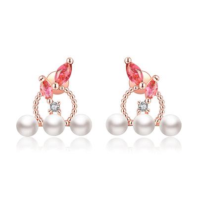 優雅氣質珍珠圓環鑲鑽 黏式耳環