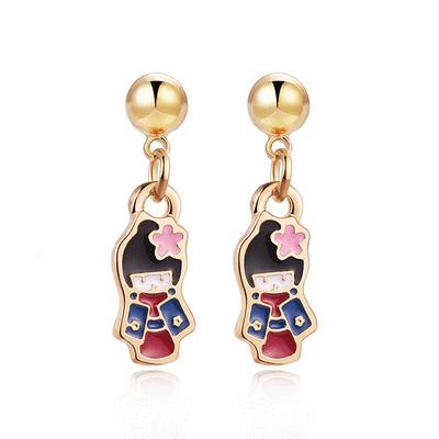 優雅甜美和風娃娃 黏式耳環