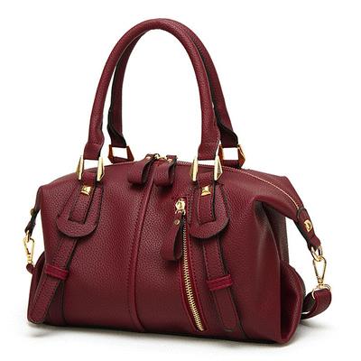 時尚個性拉鏈波士頓手提包