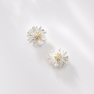 清新優雅小雛菊 耳針/無耳洞黏貼式耳環