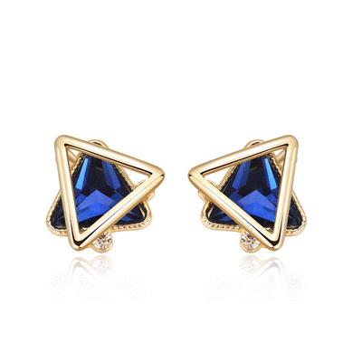 韓版時尚幾何三角 耳針/黏式耳環