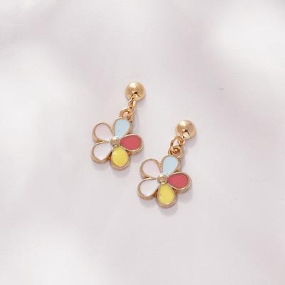 童趣五彩花朵 無耳洞黏貼式耳環