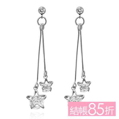 【結帳85折】復古浪漫雙星亮鑽 耳針/無耳洞黏貼式耳環
